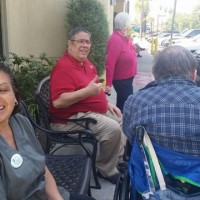 Enjoying the company of fellow residence at Olive Garden in Arcadia, CA