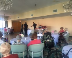Arcadia Residents learn how to sign up for emergency medical response program.