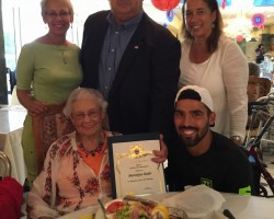 100th Birthday party for our resident Marvelyne Bailer. Mayor Pro Tem, Peter Amundson, presented her with an honorary certificate and gave a presentation in her honor. Her daughters, Tina, Bonnie  and grandson Parker, were present along with staff and fellow residents at Arcadia Gardens.