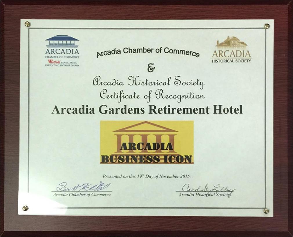 Arcadia Chamber Of Commerce Business Icon Award