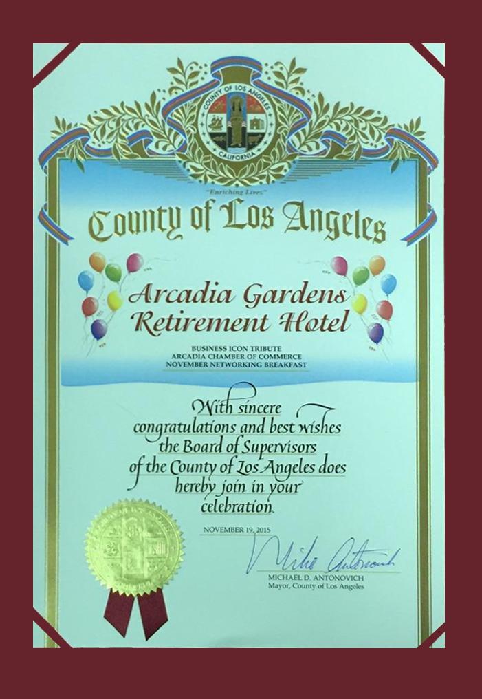 County Of Los Angeles Certificate Hero